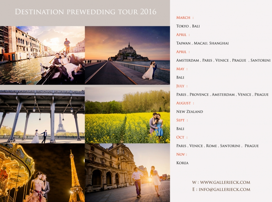 Destination Prewedding 2016 Europe Bali New Zealand An Seoul